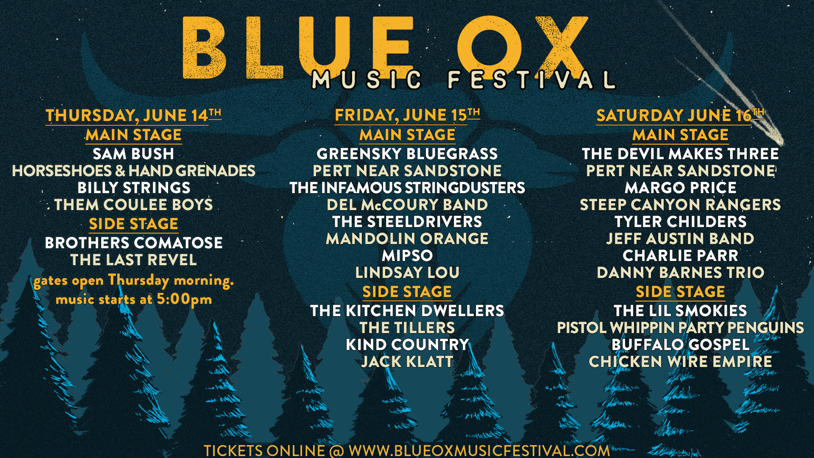 2018 blue ox music festival daily schedule june 14 16 eau claire wi